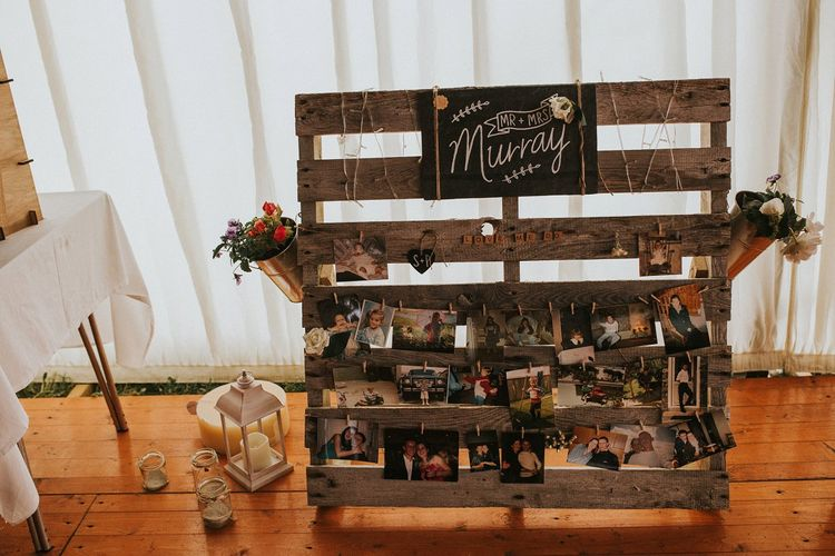 Wooden Palette & Polaroid Pictures Rustic Decor
