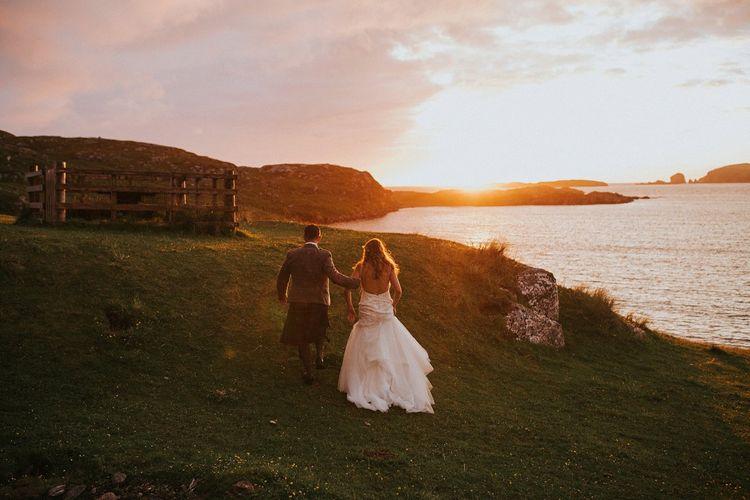 Bride & Groom Isle Lewis Sunset Portrait