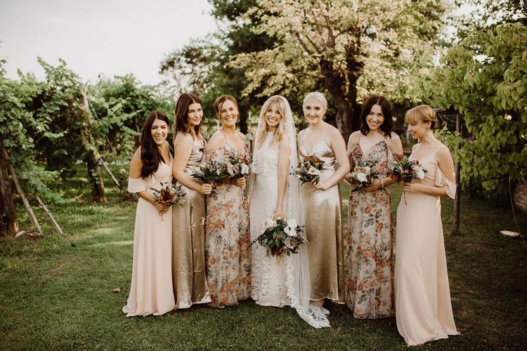 Wedding Party In Neutral Tones With Cold Shoulder Dresses