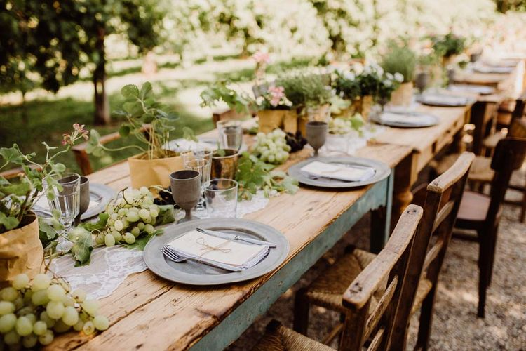 Potted Herbs & Fresh Fruit For Wedding Reception Decor
