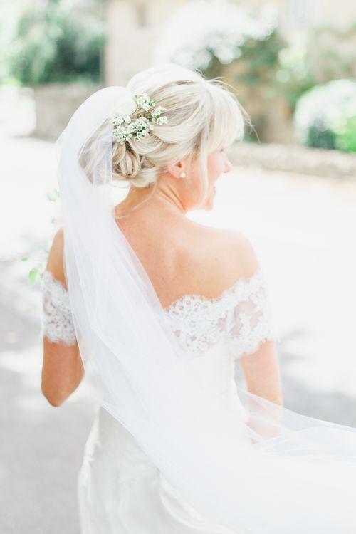 Bride in Naomi Neoh Loretta Gown with Stewart Parvin Lace Jacket & Suzanne Neville Belt