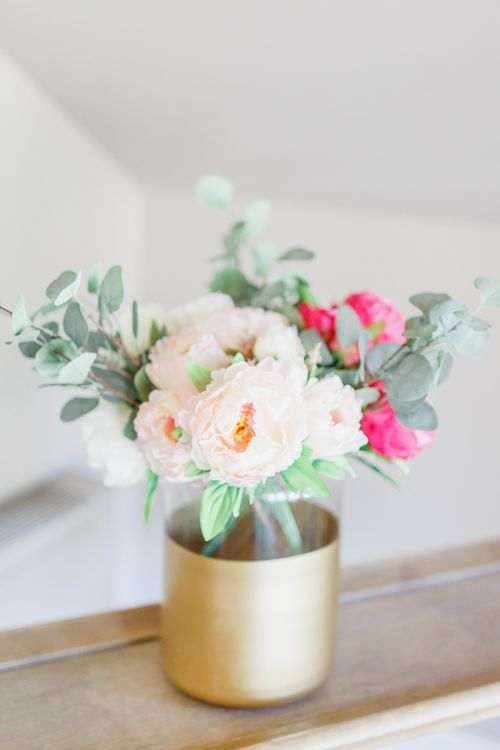 Gold Spray Painted Vase & Pink & Cream Flowers