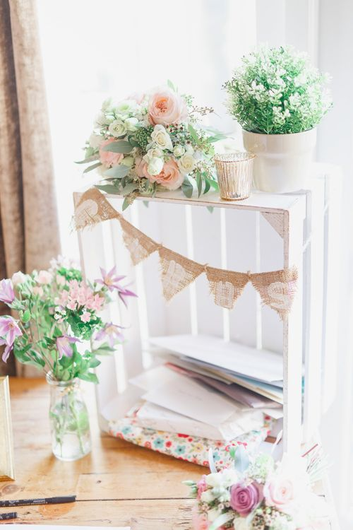 Rustic Crate with Jars Wedding Decor