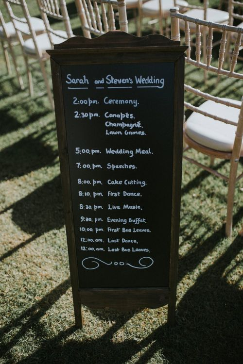 Chalkboard Sign Order Of The Day For Wedding