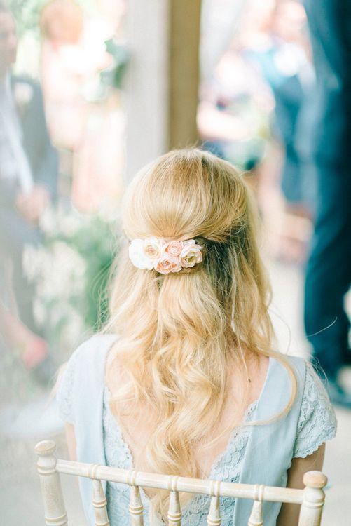 Bridesmaid Half Up Half Down Do with Fresh Flowers