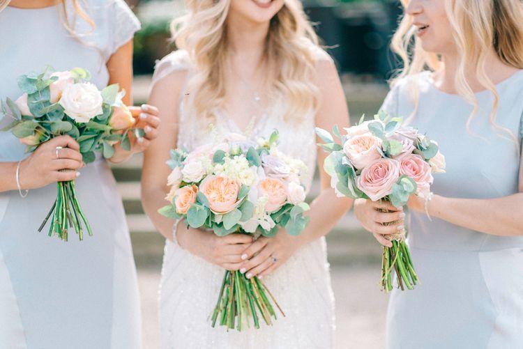 Pastel Peach Wedding Bouquets