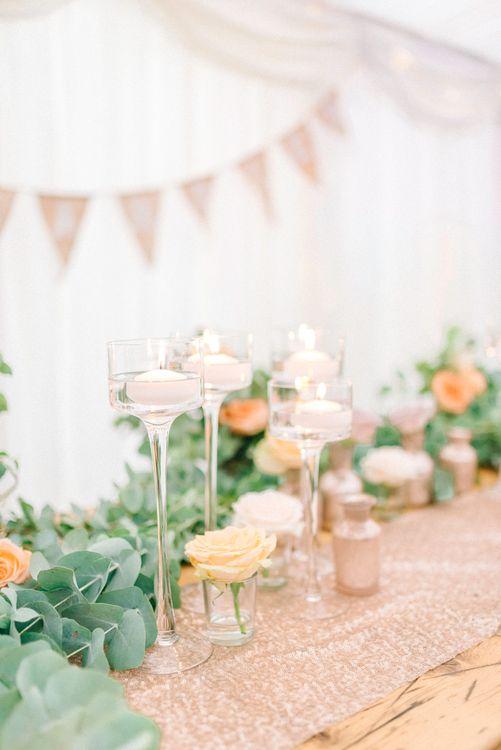 Floral Arrangement & Candles Wedding Decor