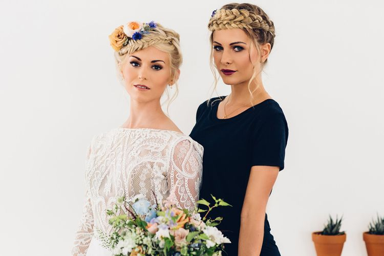 Bridesmaid in Navy Dress