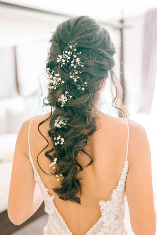 Bridal Hair Braid With Gypsophila