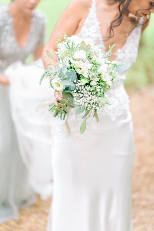 White & Foliage Wedding Bouquet