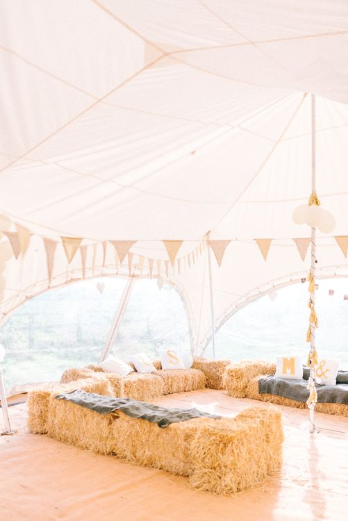 Marquee with Hay Bale Seating
