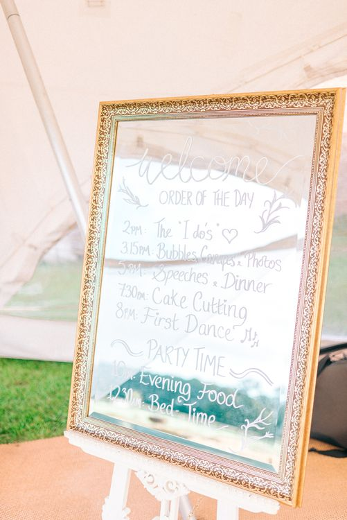 Mirrored Order Of The Day Sign Wedding
