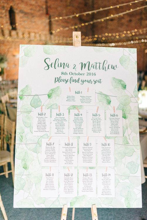 Table Plan With Olive Leaves