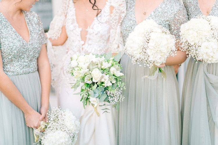 Bridesmaids In Green Sequinned ASOS Dresses