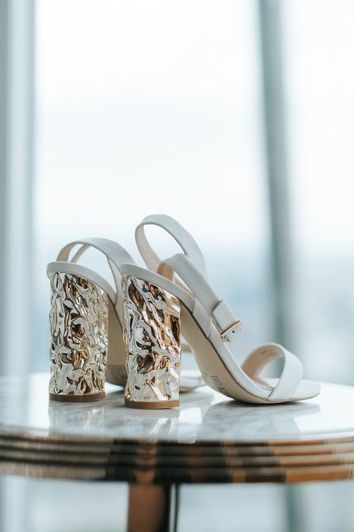 White Wedding Shoes With Block Heels