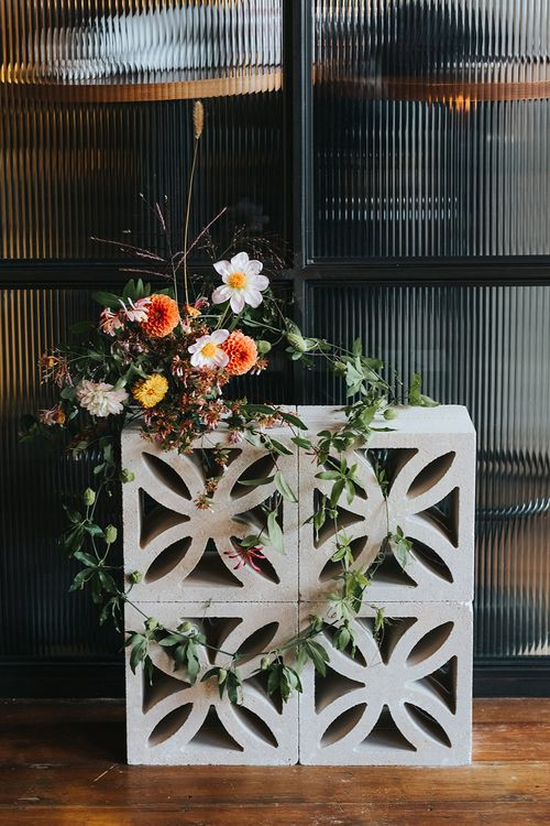 Concrete Breeze Block & Floral Decor For Weddings