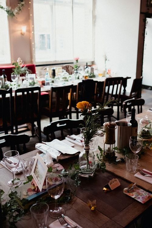 Etsy Wedding In London Pub With Artistic Woodland Details Bride In Bold Skirt By Coast & Bridesmaid In Sequinned Dress With Images By Claudia Rose Carter