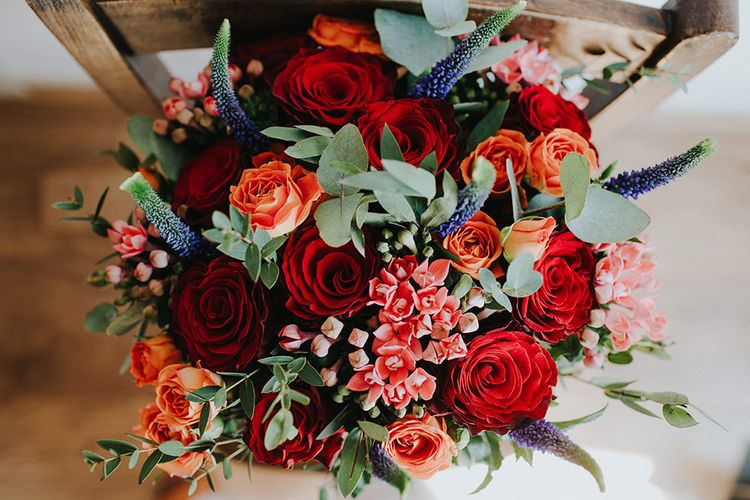 Red Bridal Bouquet | Luxe Wedding at St Stephen's Trust, Deconsecrated Church in Hampstead, London | Irene yap Photography