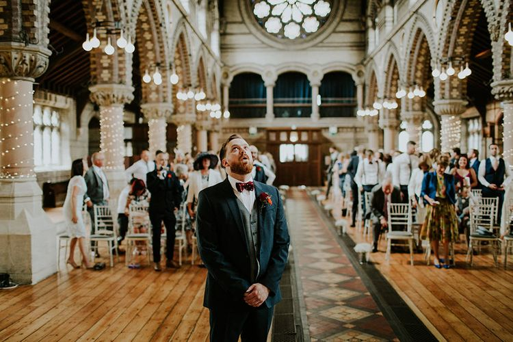 Groom at the Altar in Hugo Boss Suit | Luxe Wedding at St Stephen's Trust, Deconsecrated Church in Hampstead, London | Irene yap Photography
