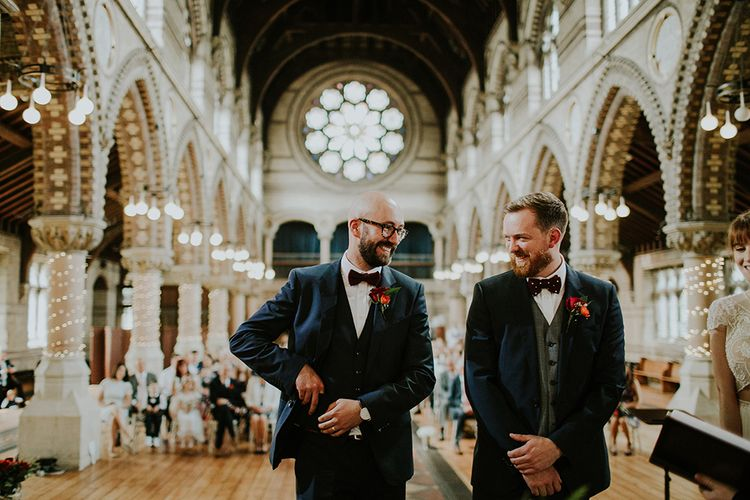 Groom in Hugo Boss Suit | Bride in Inbal Raviv Gown | Luxe Wedding at St Stephen's Trust, Deconsecrated Church in Hampstead, London | Irene yap Photography