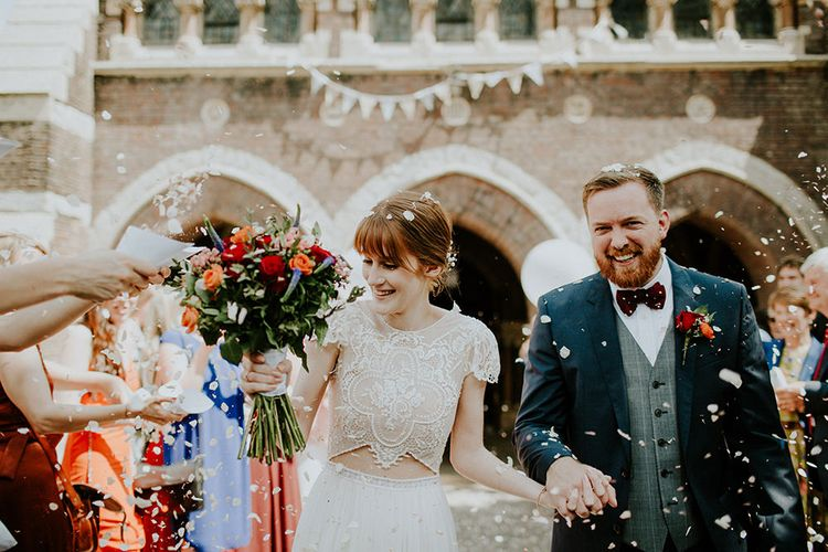 Confetti Moment | Bride in Inbal Raviv Gown | Luxe Wedding at St Stephen's Trust, Deconsecrated Church in Hampstead, London | Irene yap Photography