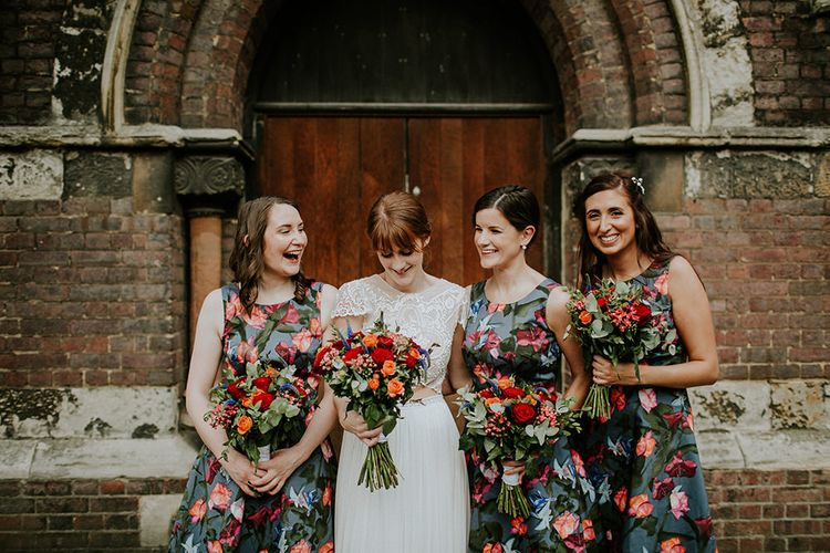 Bridesmaids in Floral Karen Millen Dresses | Bride in Inbal Raviv Gown | Luxe Wedding at St Stephen's Trust, Deconsecrated Church in Hampstead, London | Irene yap Photography