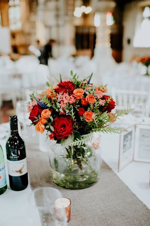 Red Rose Centrepiece | Luxe Wedding at St Stephen's Trust, Deconsecrated Church in Hampstead, London | Irene yap Photography