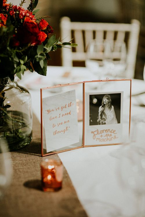 Table Names in Copper Frames | Luxe Wedding at St Stephen's Trust, Deconsecrated Church in Hampstead, London | Irene yap Photography