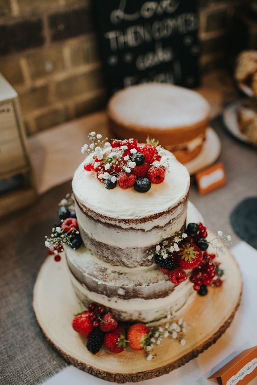 Homemade Semi Naked Wedding Cake | Luxe Wedding at St Stephen's Trust, Deconsecrated Church in Hampstead, London | Irene yap Photography
