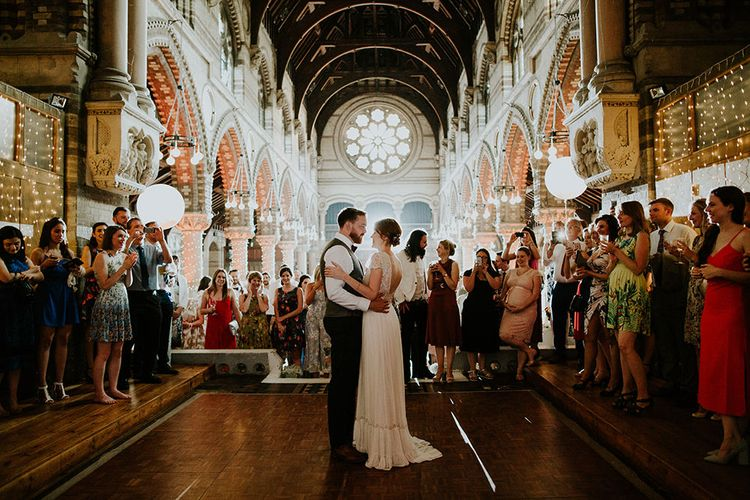 First Dance | Bride in Inbal Raviv Gown | Luxe Wedding at St Stephen's Trust, Deconsecrated Church in Hampstead, London | Irene yap Photography