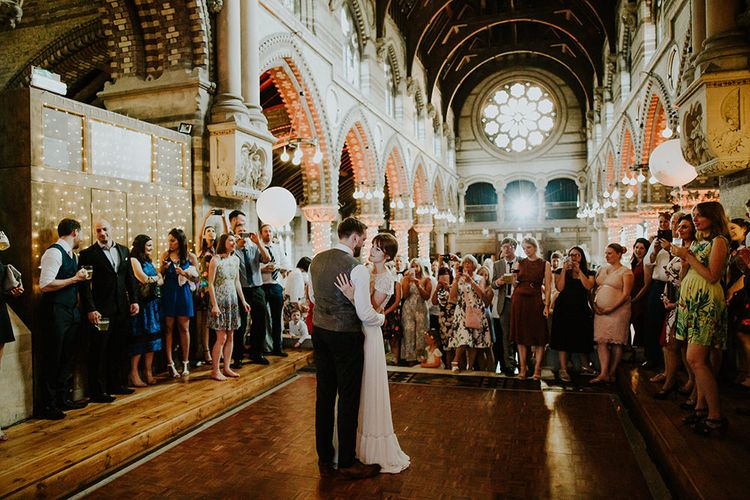 First Dance | Bride in Inbal Raviv Gown | Groom in Hugo Boss Suit | Luxe Wedding at St Stephen's Trust, Deconsecrated Church in Hampstead, London | Irene yap Photography