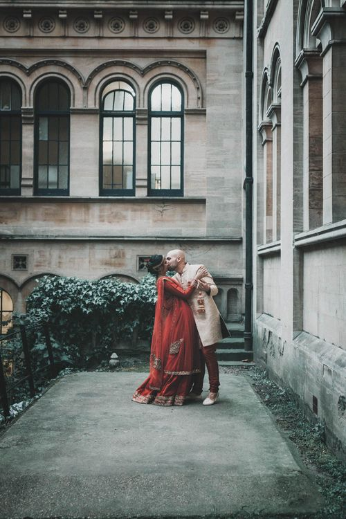 Non Religious Wedding With Indian & Spanish Cultural Traditions Bride In Simple Red Wedding Sari & ASOS Dress Images By Meghan Lorna