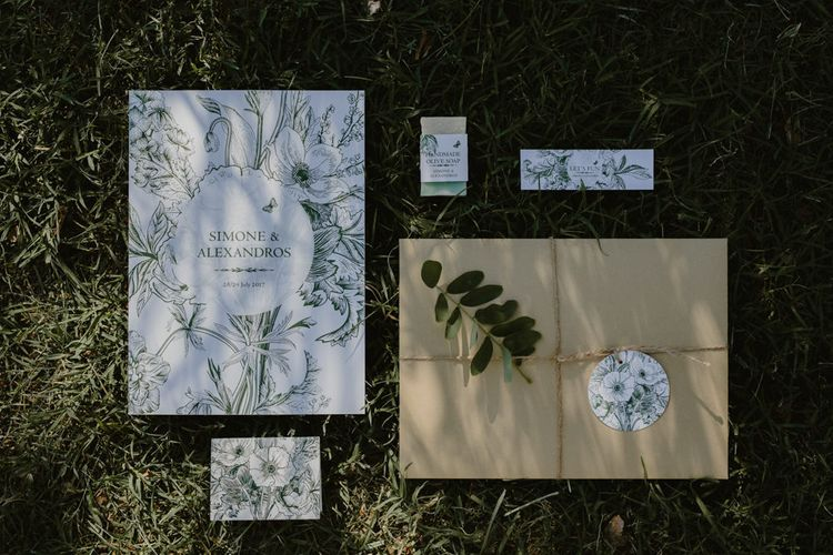 White & Green Wedding Stationery Suite | Outdoor Countryside Wedding in Greece Planned by Phaedra Liakou | Days Made of Love Photography