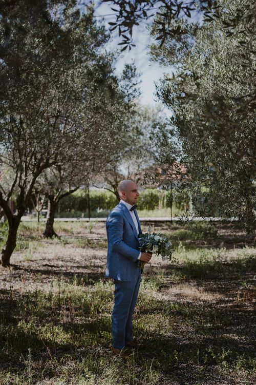 First Look | Groom in Blue Suit Supply Suit | Outdoor Countryside Wedding in Greece Planned by Phaedra Liakou | Days Made of Love Photography
