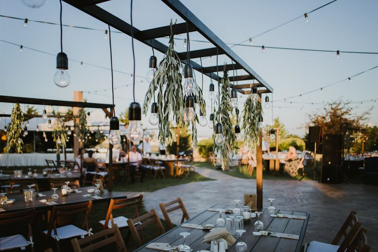Hanging Emerson Light Installation | Outdoor Countryside Wedding in Greece Planned by Phaedra Liakou | Days Made of Love Photography