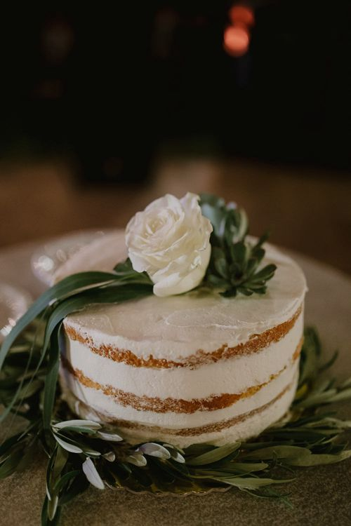 Semi Naked Wedding Cake with Flower Topper | Outdoor Countryside Wedding in Greece Planned by Phaedra Liakou | Days Made of Love Photography