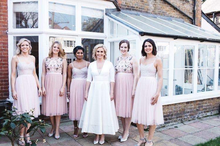 Bride in Delphine Manivet With Bridesmaids In Needle & Thread