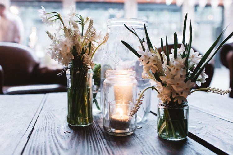 Jam Jar Flowers for Wedding