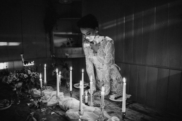 Dress by Katya Katya Shehurina // Earrings by Mimi Wade x Vicki Sarge // Ring by Pebble London // Styling by Beatnik Bride // Images by Benjamin Wheeler International Wedding Photographer