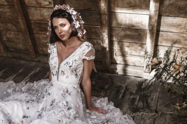 Beaded dress by Savin London // Floral veil by Megan Sophia
