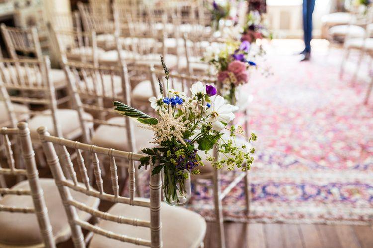 Chair Back Decor Floral Arrangement