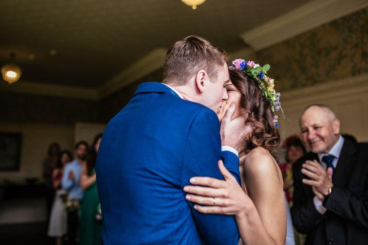 Bride & Groom Wedding Ceremony Kiss
