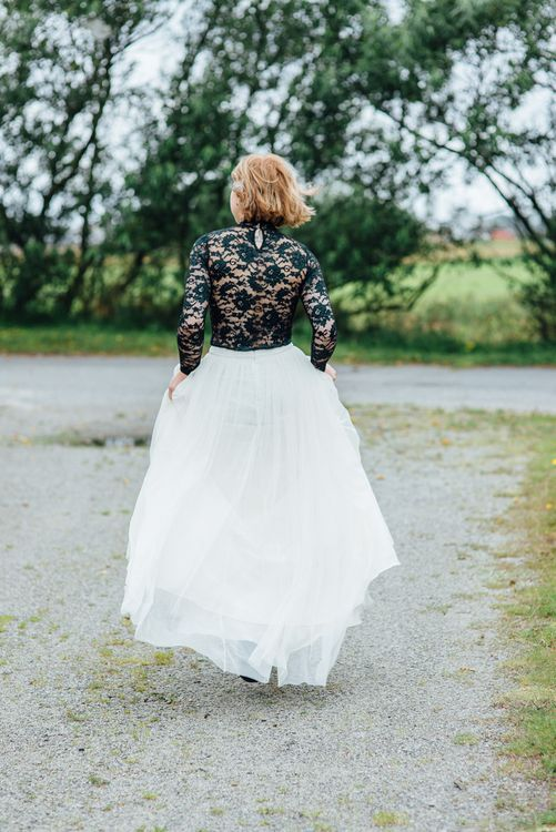 Bride in Green Top & Tulle Skirt
