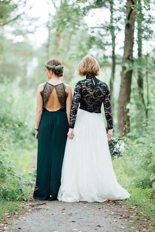 Bride & Bridesmaid in Green