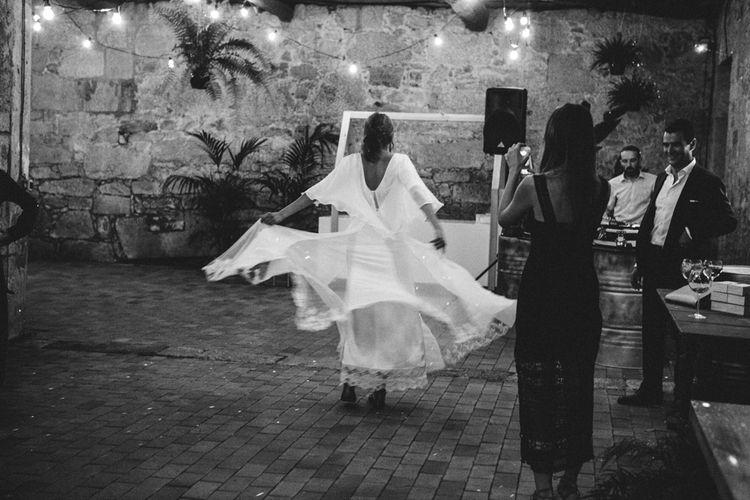 Bride in Isabel Nuñez Wedding Dress