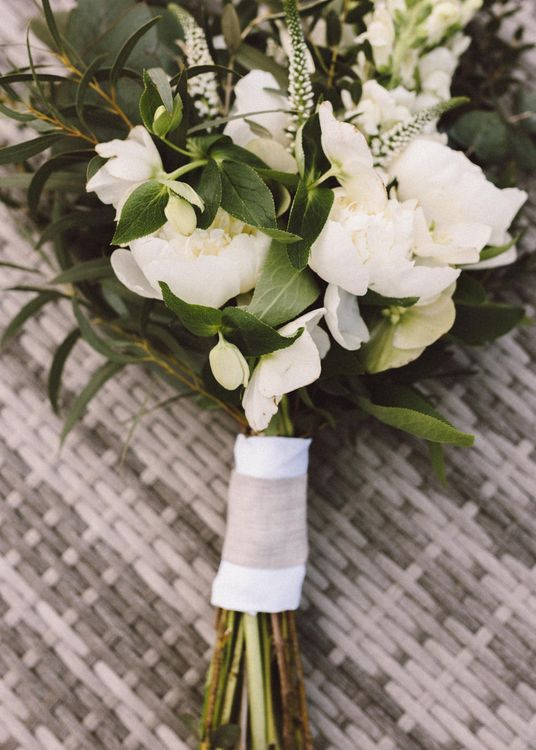 Greenery & White Flower Bouquet | The Harbour Church Portsmouth Wedding | Emily & Steve Photography