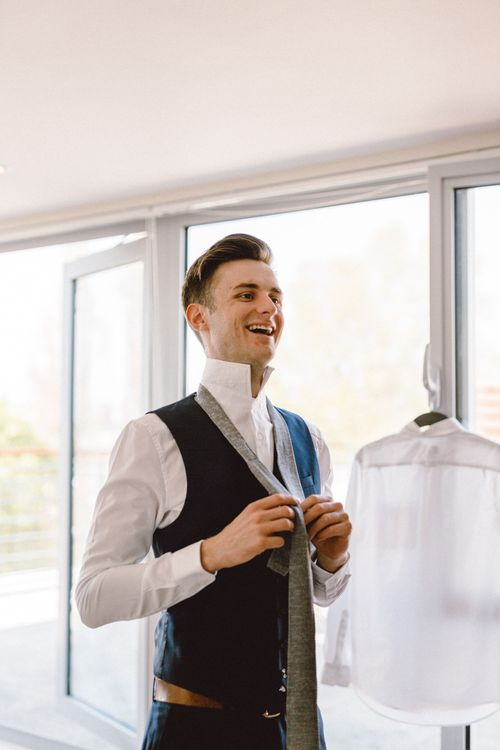 Groom in Navy Reiss Suit | The Harbour Church Portsmouth Wedding | Emily & Steve Photography