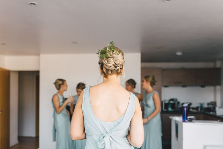Braided Bridesmaid Up Do | Bridesmaid in Pale Green Ghost Dress | The Harbour Church Portsmouth Wedding | Emily & Steve Photography