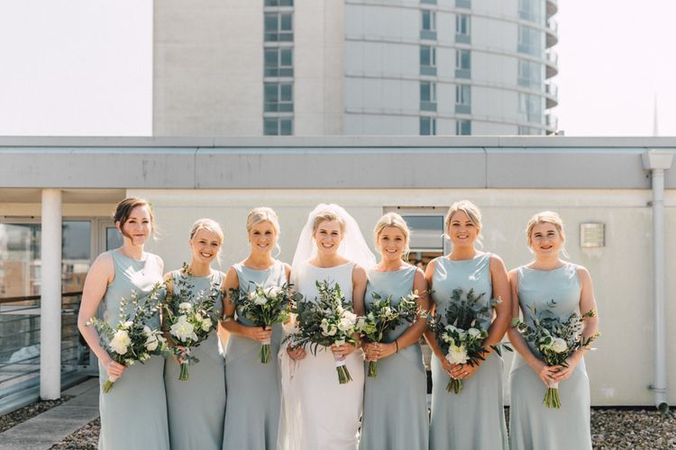 Bride in Pronovias Gown | Bridesmaids in Pale Green Ghost Dresses | The Harbour Church Portsmouth Wedding | Emily & Steve Photography