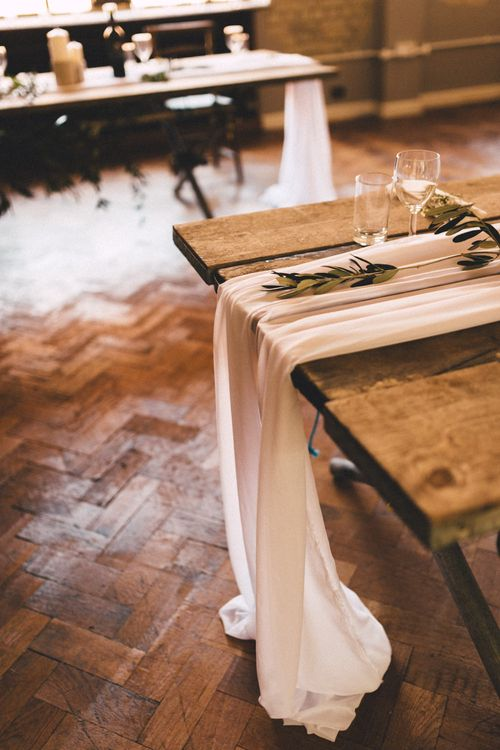 Trestle Table with Greenery Decor | The Harbour Church Portsmouth Wedding | Emily & Steve Photography